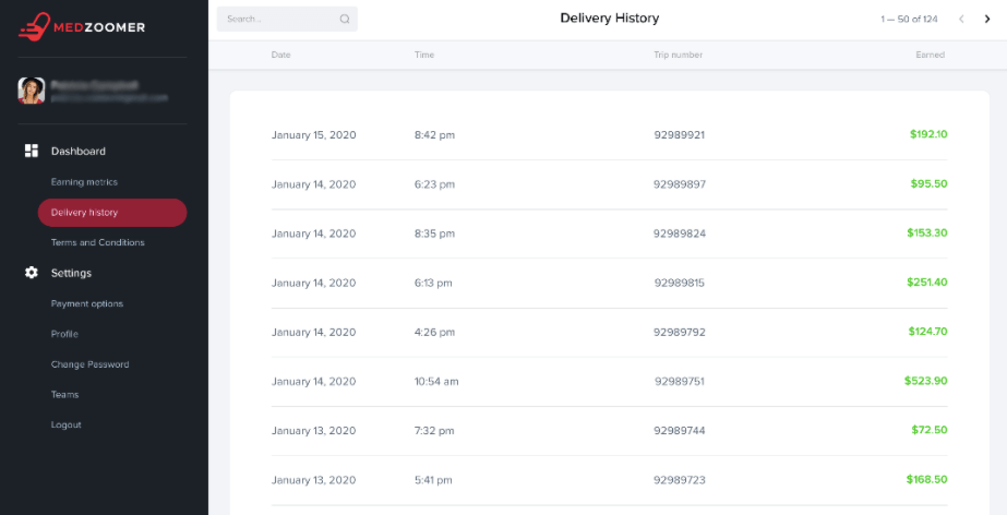MedZoomer Delivery History
